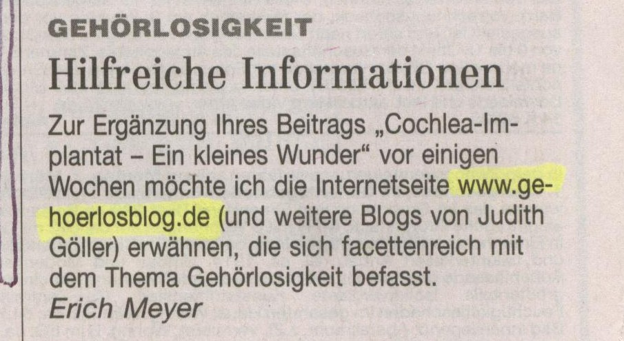 Gehörlosblog im Hamburger Abendblatt