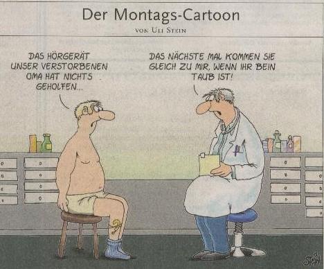 Montags-Cartoon mit Hörgerät