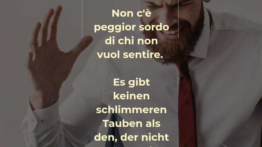 Italienischer Spruch über das Hören